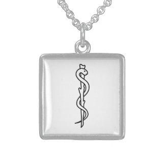Rod von Asclepius [medizinisches Symbol] Sterling Silberkette