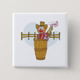 Rodeo-Clown Quadratischer Button 5,1 Cm