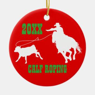 Rodeo-Cowboy-Kalb-Roping Weihnachtsverzierung Keramik Ornament