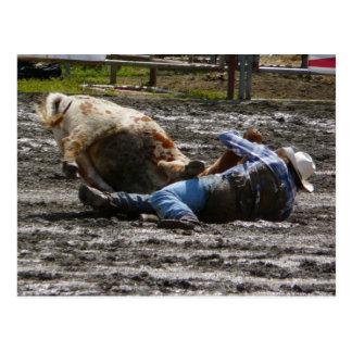 Rodeo-Cowboy-Ochse-Wrestling Postkarte