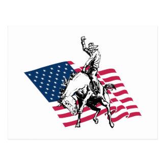 Rodeo USA - Amerika, Cowboy-Pferd und Flagge Postkarte