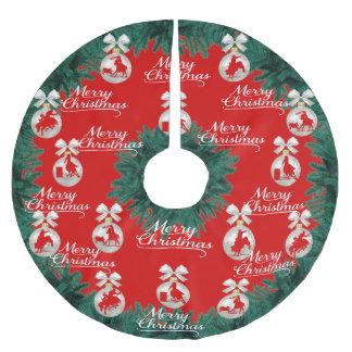 Rodeo verziert frohe Weihnacht-roten Baum-Rock Polyester Weihnachtsbaumdecke