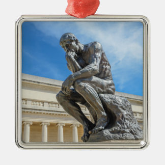 Rodin Denker-Statue Quadratisches Silberfarbenes Ornament