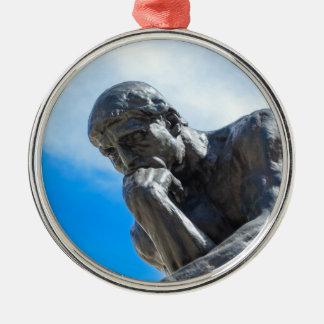Rodin Denker-Statue Rundes Silberfarbenes Ornament