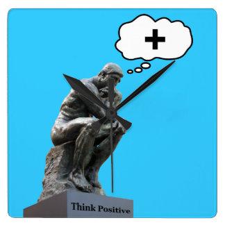 Rodins Denker-Statue - denken Sie Positiv Quadratische Wanduhr