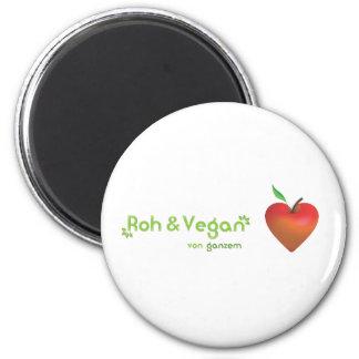 Roh & vegan von ganzem Herzen (rotes Apfelherz) Kühlschrankmagnet