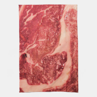 Rohes Fleisch Ribeye Steak-Beschaffenheit Küchenhandtücher