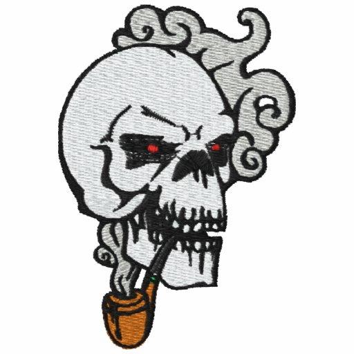 Rohr-rauchendes Schädel gesticktes Shirt