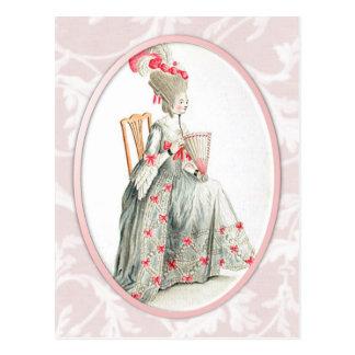 Rokoko-Dame Postkarte