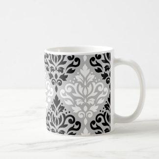 Rolle-Damast-Fahrwerk Ptn B&W auf Grau Kaffeetasse