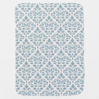 Rolle-Damast-großes Muster-Blau auf Creme Babydecke