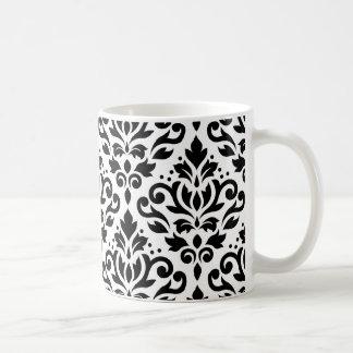 Rolle-Damast-Muster-Schwarzes auf Weiß Kaffeetasse