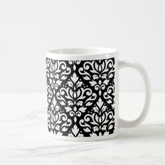 Rolle-Damast-Muster-Weiß auf Schwarzem Kaffeetasse