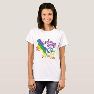 Rolle Derby macht mich magischen Regenbogen T-Shirt