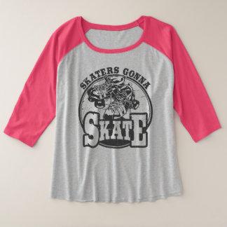 Rolle Derby - Skater, die zu den Skaten plus Große Größe Raglan T-Shirt