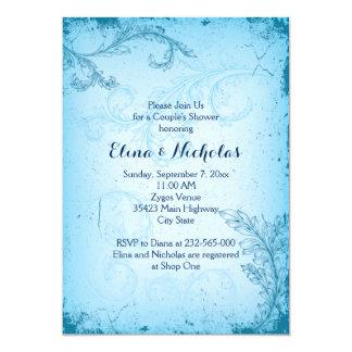 Rolleblatt-Paardusche des Vintagen Aqua blaue 12,7 X 17,8 Cm Einladungskarte