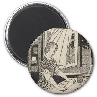 Rollen-Button Bettina Runder Magnet 5,1 Cm
