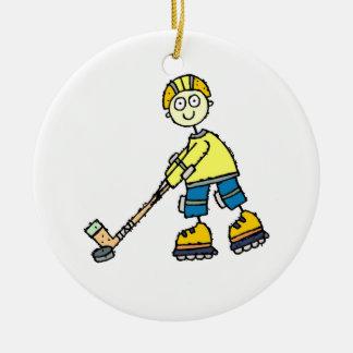 Rollen-Hockey-Weihnachtsverzierung Keramik Ornament