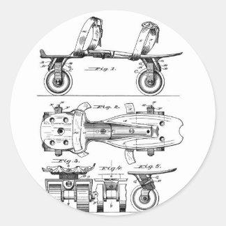Rollen-Skate-Patent-Papier-Einzelteile Runder Aufkleber