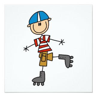 Rollen-Skaten-Strichmännchen Quadratische 13,3 Cm Einladungskarte