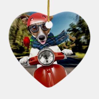 Rollerhund, Jack Russell Keramik Herz-Ornament