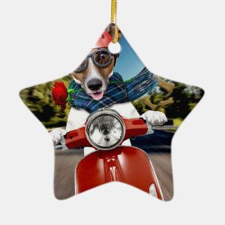 Rollerhund, Jack Russell Keramik Stern-Ornament
