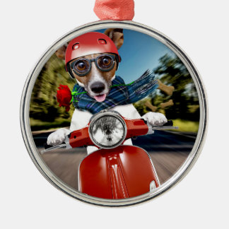Rollerhund, Jack Russell Rundes Silberfarbenes Ornament