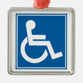 Rollstuhl-Symbol Silbernes Ornament