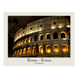 Rom - Colosseum an der Nachtpostkarte mit Text Postkarten