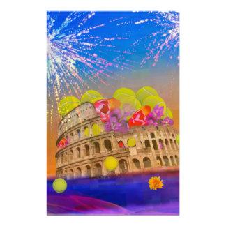 Rom feiert Jahreszeit mit Tennisbällen, Blumen Briefpapier