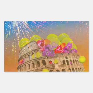 Rom feiert Jahreszeit mit Tennisbällen, Blumen Rechteckiger Aufkleber