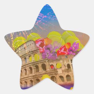 Rom feiert Jahreszeit mit Tennisbällen, Blumen Stern-Aufkleber
