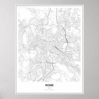 Rom, Italien, unbedeutendes Karten-Plakat (Art 2) Poster