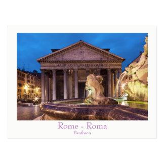 Rom - Pantheon an der Nachtpostkarte mit Text Postkarten