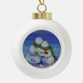 Romancing Schneemann-Ball-Verzierung Keramik Kugel-Ornament