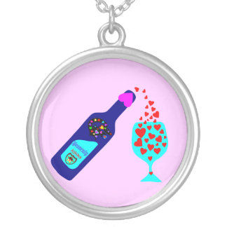 §♥Romantic Wein-Toast-Sterlingsilber Necklace♥§ Versilberte Kette