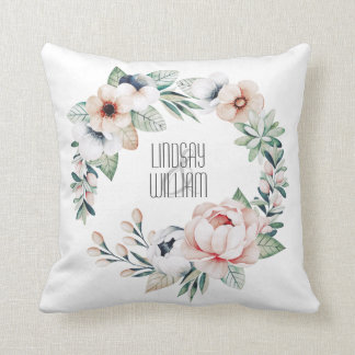 Romantisch erröten rosa BlumenKranz Kissen