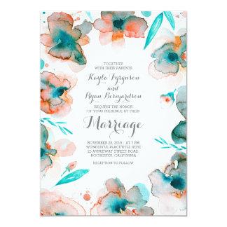 romantische aquamarine Hochzeit des 12,7 X 17,8 Cm Einladungskarte