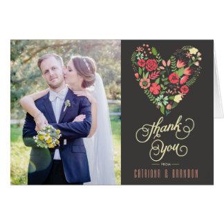 Romantische Blumenherz-Hochzeit danken Ihnen zu Karte