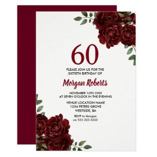 Romantische Burgunder-Rosen-60. Geburtstag laden Karte