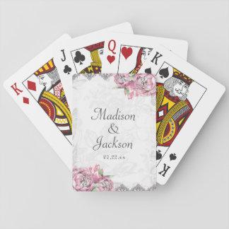 Romantische Chic-Pfingstrose mit Blumen u. Spielkarten