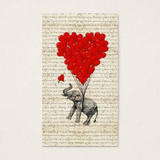 Romantische Elefant- u. Herzballone Visitenkarten