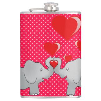 Romantische Elefanten u. rote Herzen auf Tupfen Flachmann