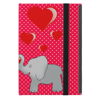 Romantische Elefanten u. rote Herzen auf Tupfen iPad Mini Etui