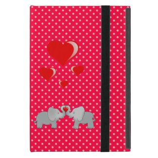 Romantische Elefanten u. rote Herzen auf Tupfen iPad Mini Schutzhülle