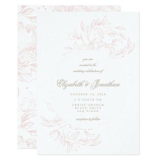 Romantische elegante 12,7 x 17,8 cm einladungskarte