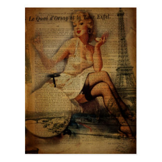 romantische elegante Vintage girly Paris-Mode Postkarte