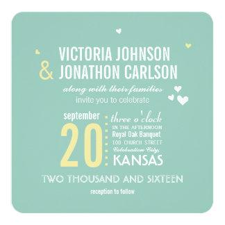 Romantische Foto-Minze und gelbe Zickzack-Hochzeit Einladungskarte