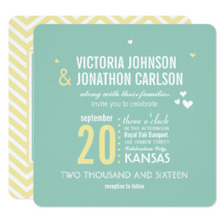 Romantische Foto-Minze und gelbe Zickzack-Hochzeit Quadratische 13,3 Cm Einladungskarte