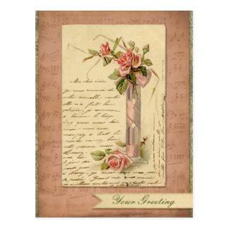 Romantische französische Vintage rosa Postkarte